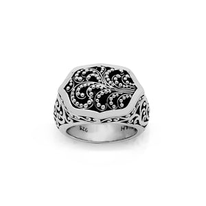 Classic Signature Scroll Granulated Ring