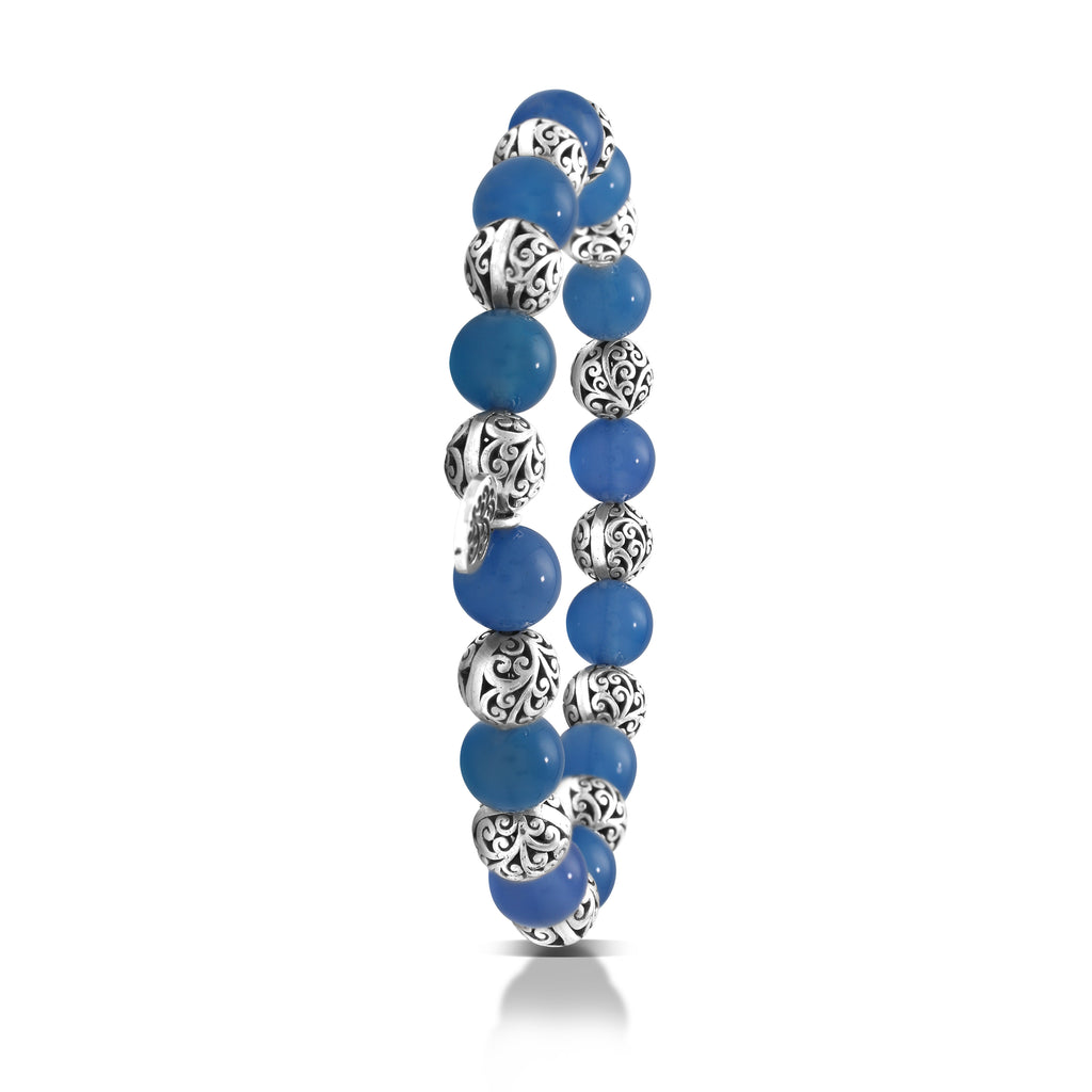 Blue Agate Bead (8mm) with Scroll Sterling Silver Bead Stretch Bracelet