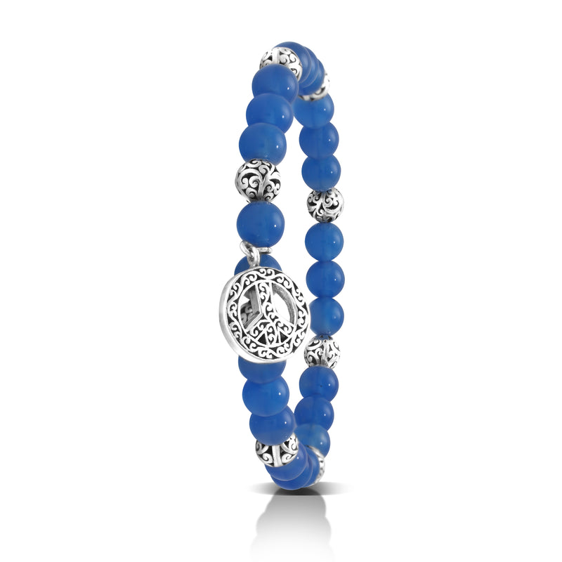 Blue Agate Bead (6mm) with Scroll Sterling Silver Bead & Peace Sign Charm Stretch Bracelet