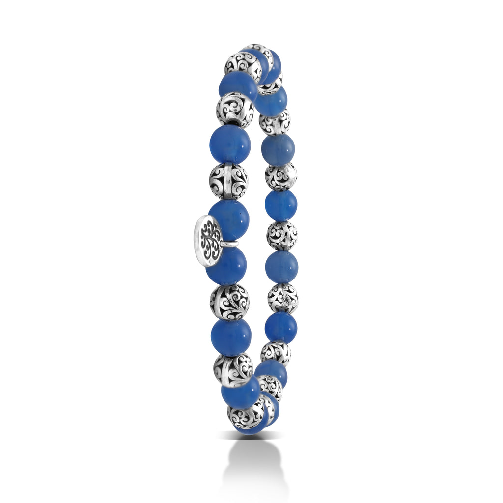 Blue Agate Bead (6mm) with Scroll Sterling Silver Bead Stretch Bracelet