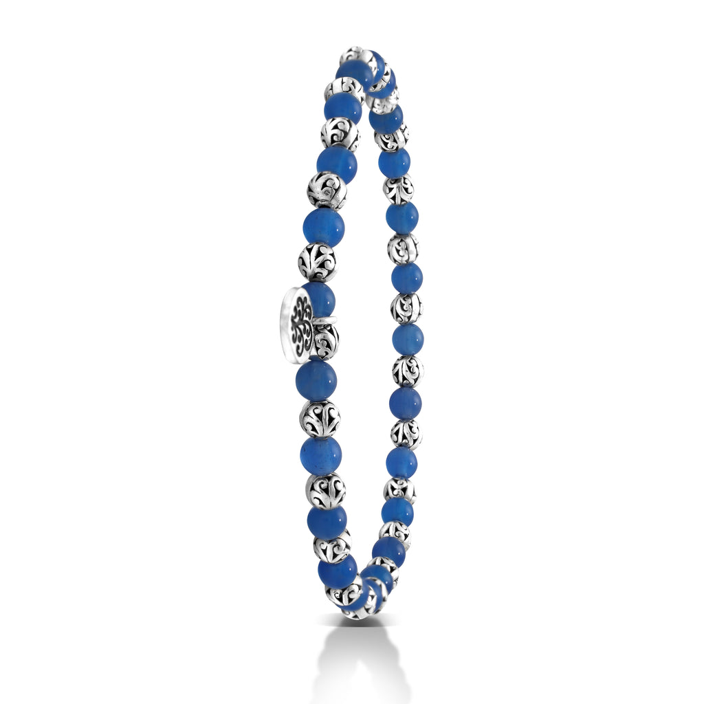 Blue Agate Bead (4mm) with Scroll Sterling Silver Bead Stretch Bracelet