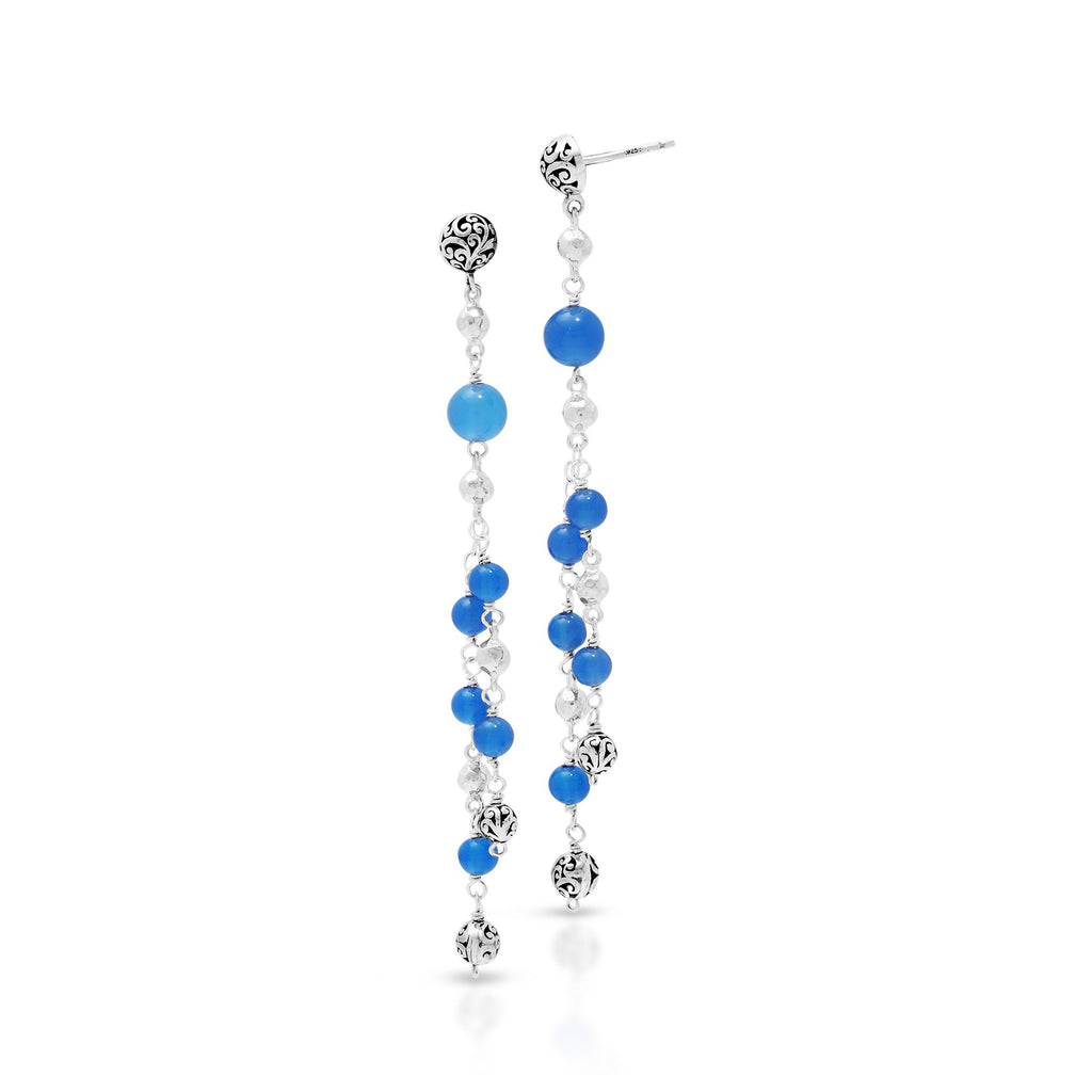 Blue Agate Bead (6mm & 4mm) Sterling Silver Bead (6mm & 4mm) Drop Post Earrings