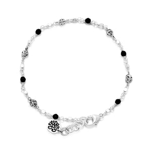 Classic Signature Scroll (4mm) Bead and Black Onyx (3mm) Bead Single Strand Wire Wrap Bracelet
