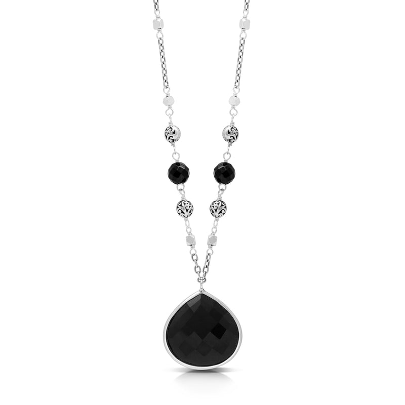 Bulb-Shaped Faceted Black Onyx Pendant with Black Onyx Bead (6mm) & Scroll Bead (4mm) Link Chain Necklace