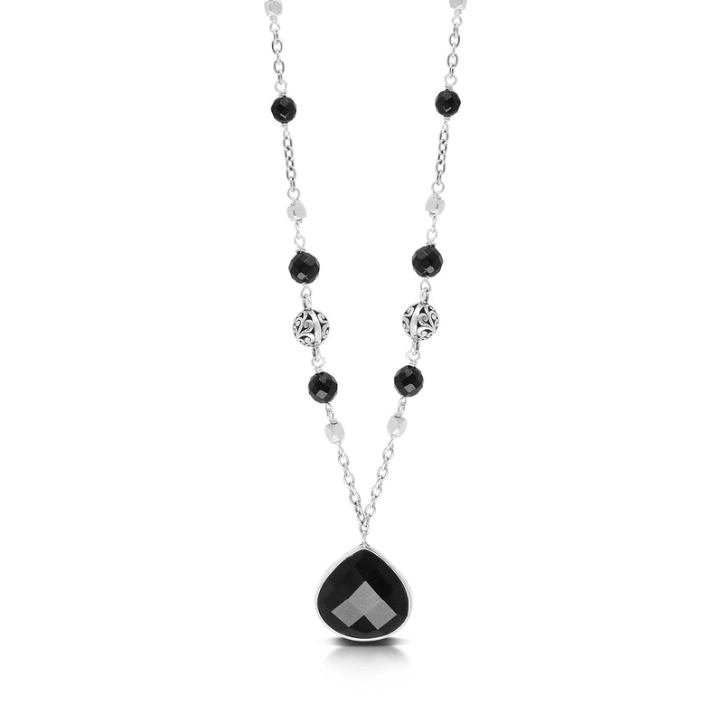 Bulb-Shaped Faceted Black Onyx Pendant with Black Onyx Bead (5mm and 4mm) & Scroll Bead (6mm) Link Chain Necklace