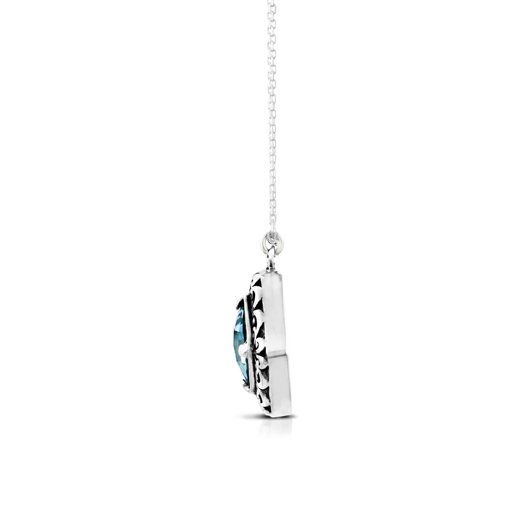 "Cushion Shape Blue Topaz with Classic Signature Scroll Pendant on 18"" Chain Necklace. Pendant 20 mm - Lois Hill Jewelry"