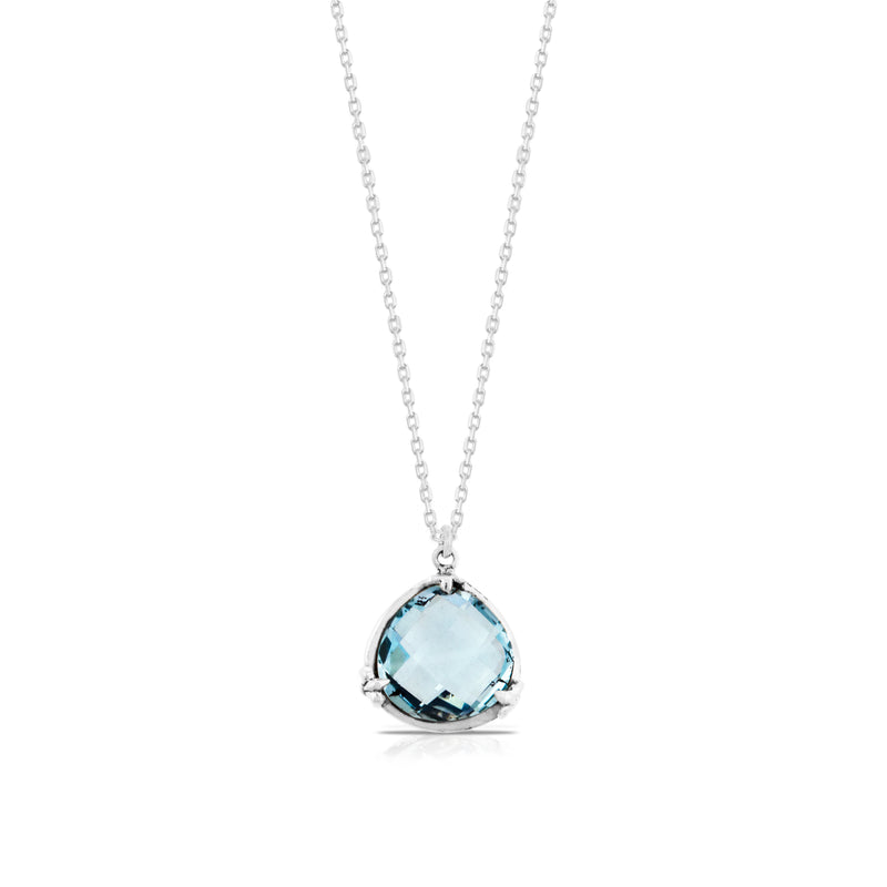 "Blue Topaz with Classic Signature Scroll Rim Pendant on 18"" Chain Necklace. Pendant 16 mm - Lois Hill Jewelry"