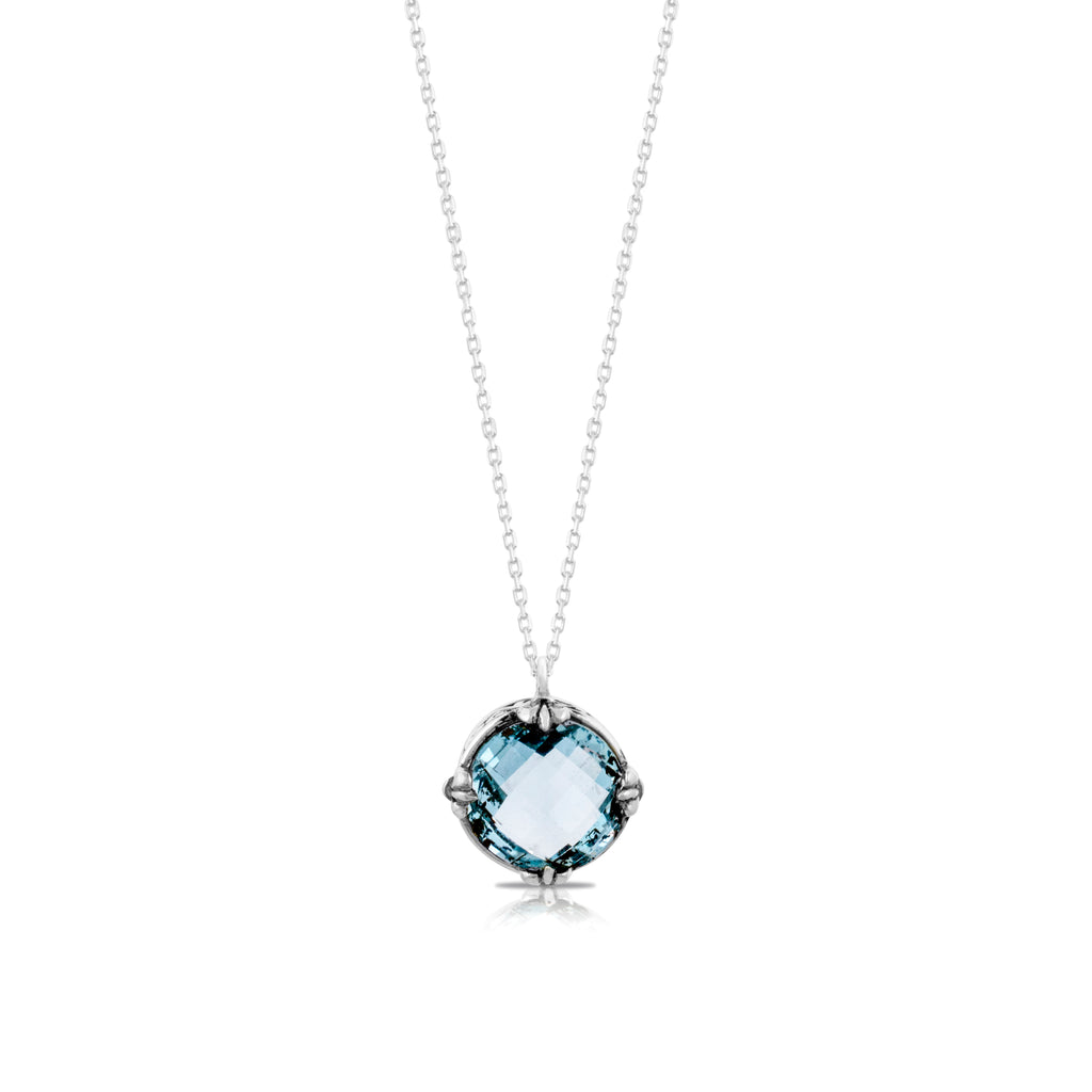 "Round Blue Topaz with Classic Signature Scroll Rim Pendant on 18"" Chain Necklace. Pendant 14 mm - Lois Hill Jewelry"