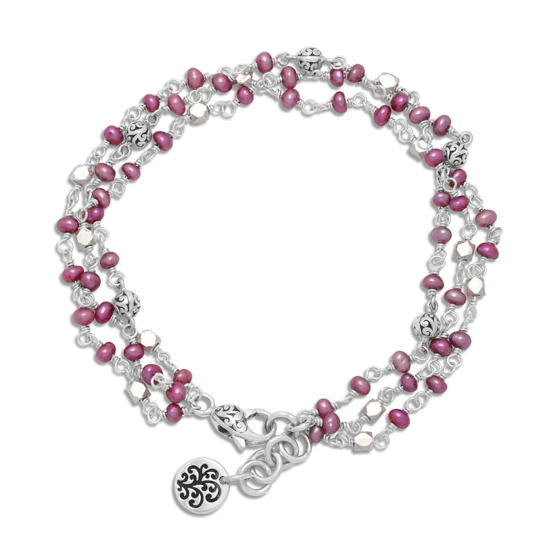 Pink Pearl Bead with Scroll Sterling Silver Bead Station Triple Layer Bracelet