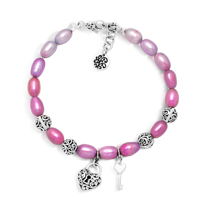 Pink Pearl Bead with Scroll Sterling Silver Bead Station and Heart Padlock Hang Tag Bracelet