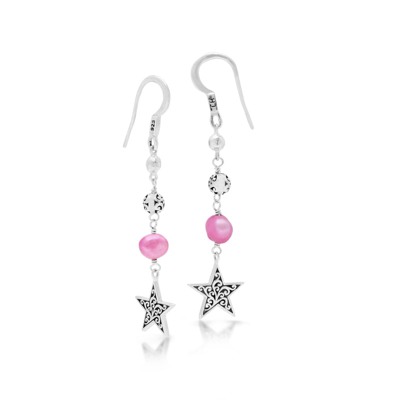 Pink Pearl Bead and Scroll Bead with Star Sterling Silver Scroll Drop Fishook Earrings