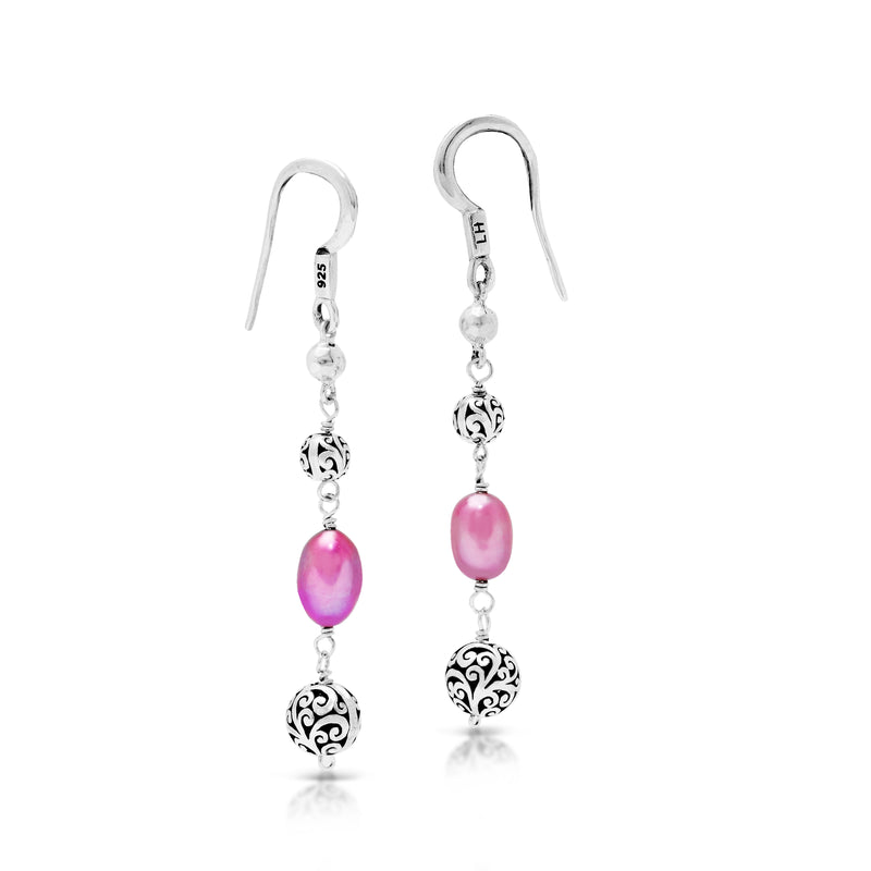 Pink Pearl Bead with Scroll Bead Drop Fishook Earrings