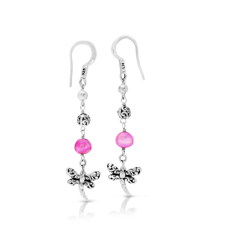 Pink Pearl Bead with Scroll Bead and Dragonfly Drop Fishook Earrings