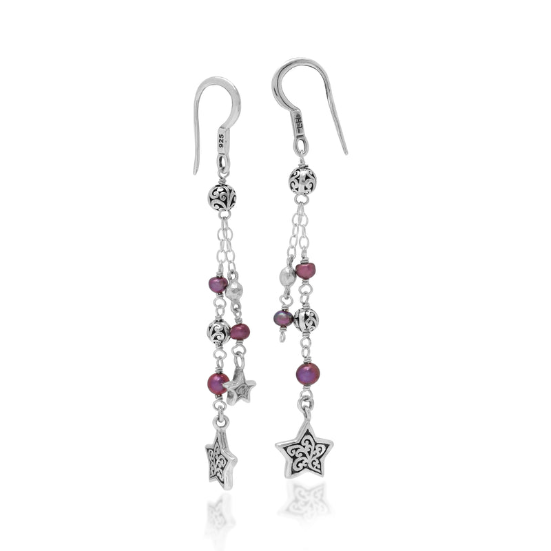 Pink Pearl Bead with Scroll Bead and Signature Scroll Star Drop Fishook Earrings