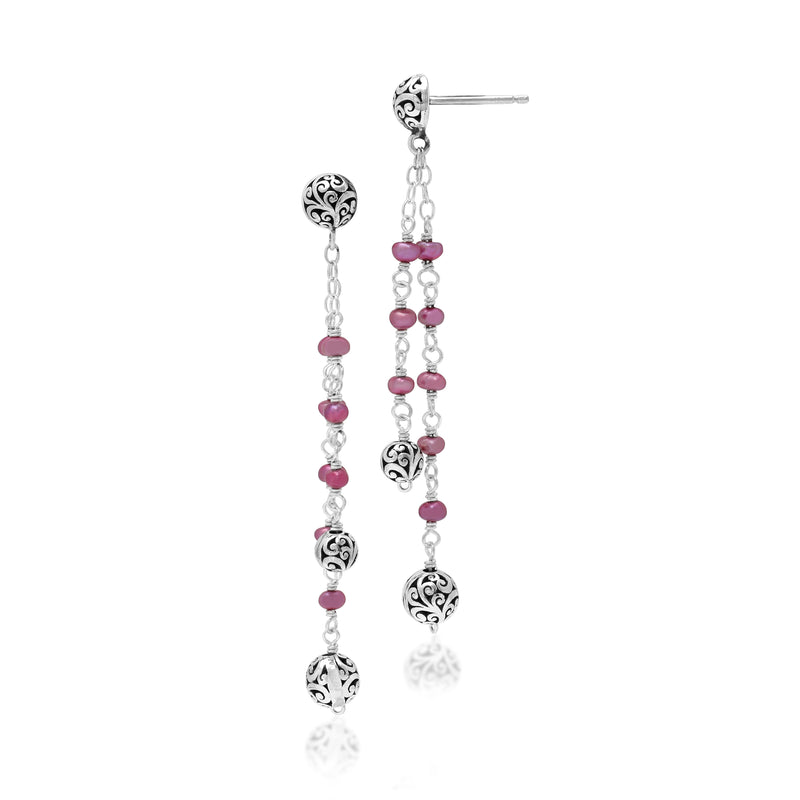 Pink Pearl Bead with Scroll Bead and Signature Scroll Drop Fishook Earrings