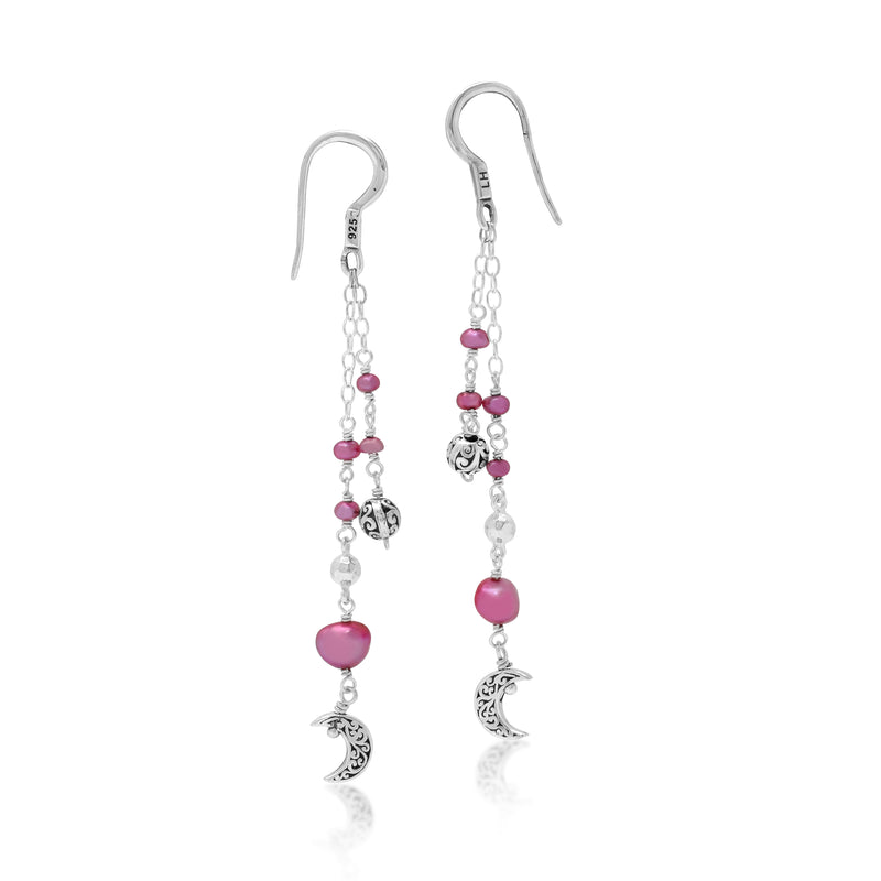 Pink Pearl Bead with Scroll Bead and Signature Scroll Moon Drop Fishook Earrings