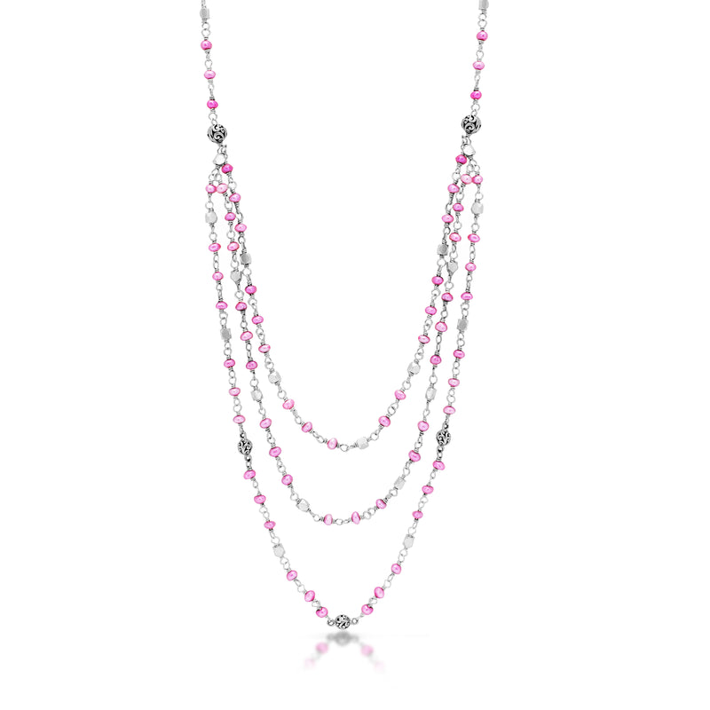 Pink Pearl Bead and Signature Scroll Silver Bead Station Triple Layer Necklace
