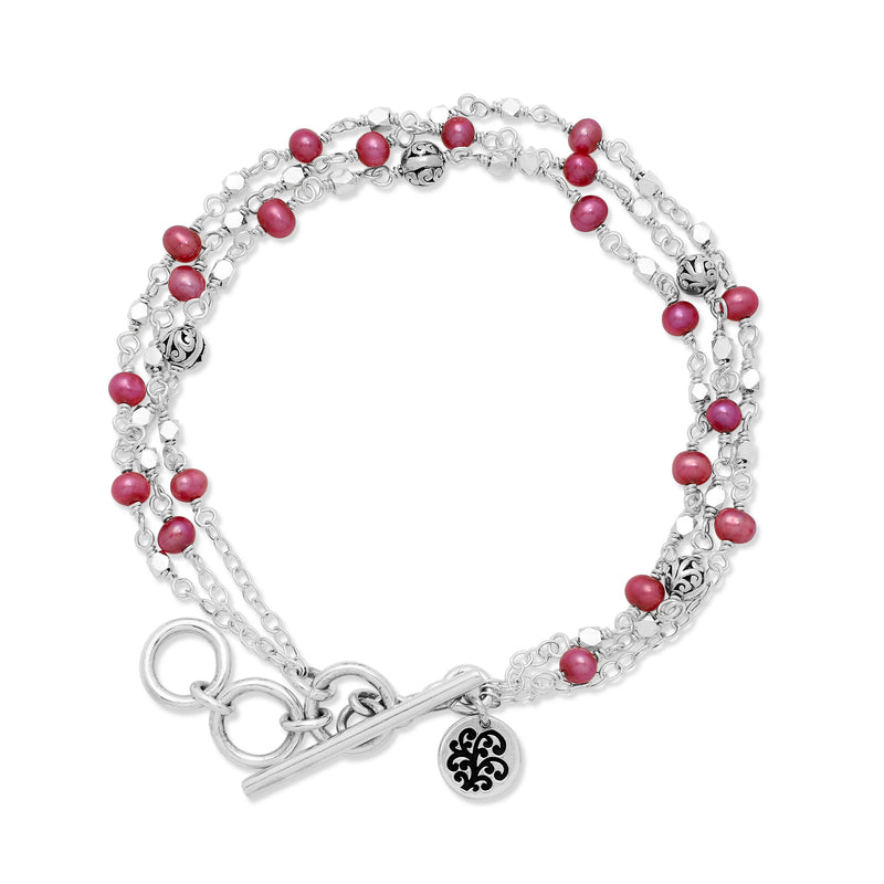 Triple Strands Pink Pearl Bead (4mm) with Scroll Sterling Silver Bead Wire-Wrapped Bracelet. <br> 7 3/4'' L