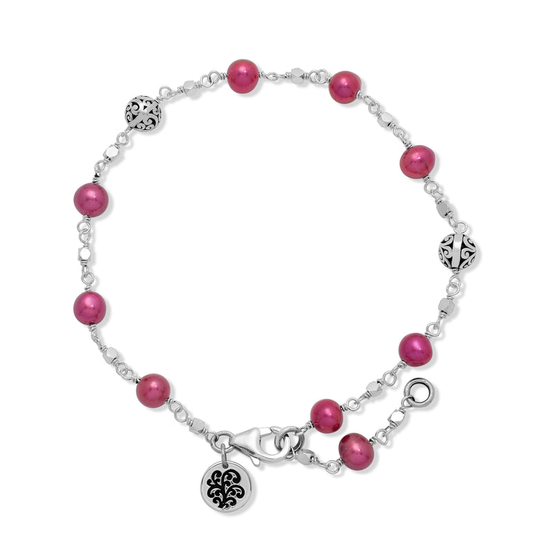 Single Strand Pink Pearl Bead (6mm) with Scroll Sterling Silver Bead (6mm) Wire-Wrapped Bracelet. <br> 7 15/16'' L