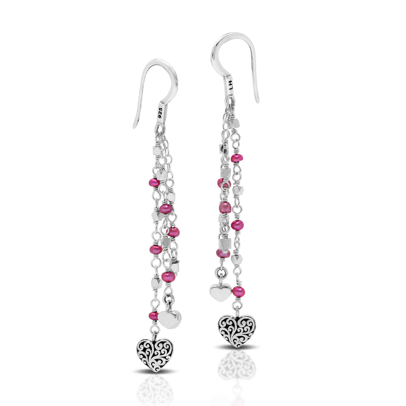 Pink Pearl Bead (3mm) with Signature Scroll Heart Charm Wire-Wrapped Drop Fishhook Earrings. 55mm Drop