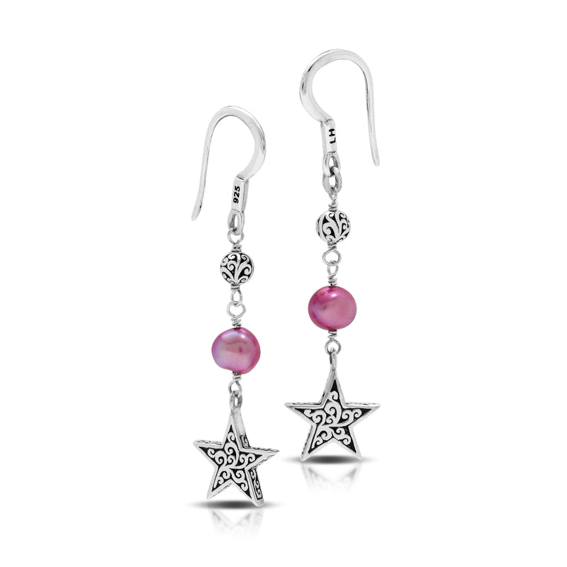 Pink Pearl Bead (6mm) with Signature Scroll Star Charm Drop Fishhook Earrings. 35mm Drop