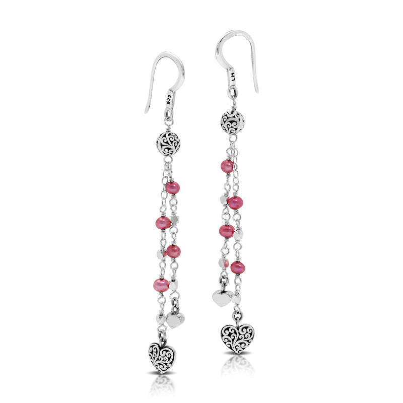 Pink Pearl Bead (4mm) with Signature Scroll Heart Charm Wire-Wrapped Drop Fishhook Earrings. 65mm Drop