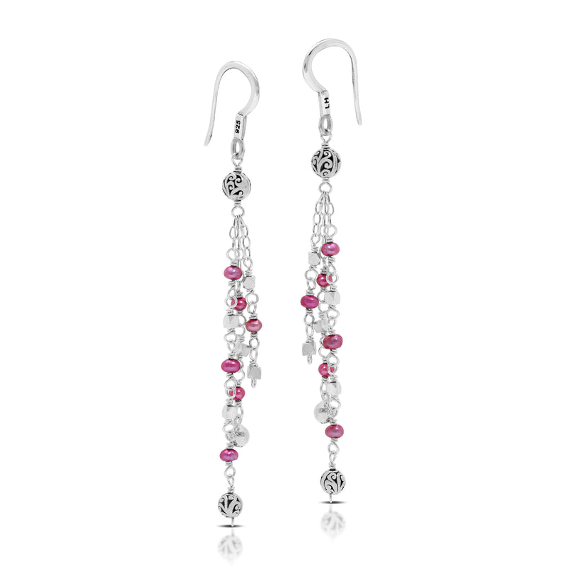 Pink Pearl Bead (3mm) with Scroll Bead (4mm) Three-strand Drop Fishook Earrings. 60mm Drop