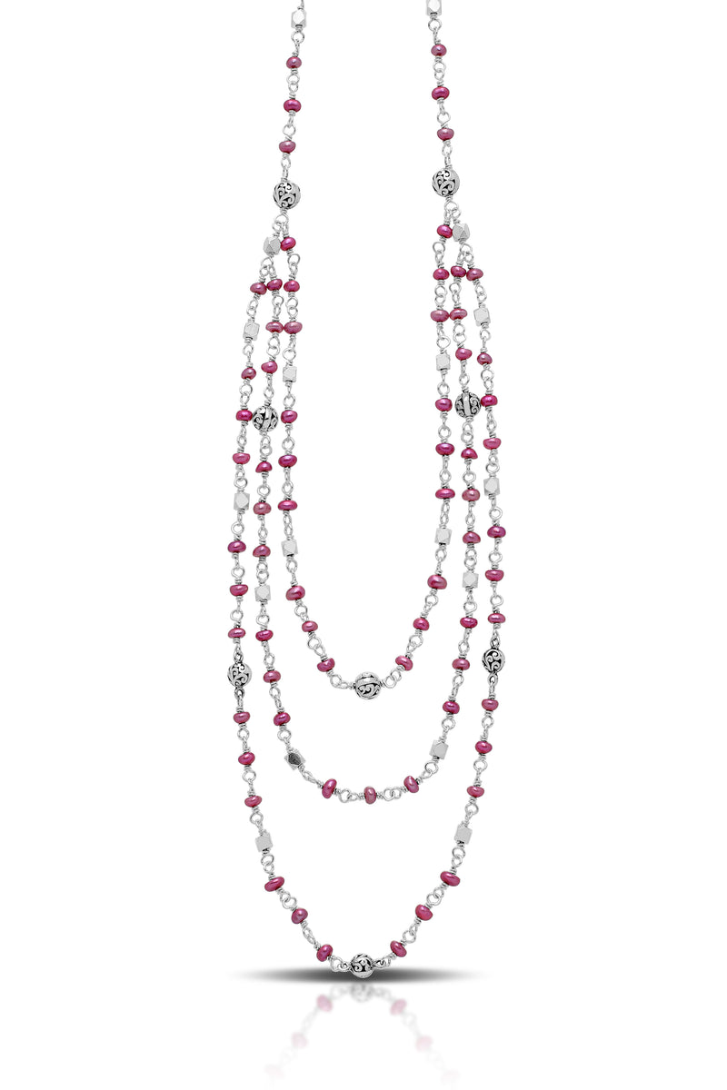"Pink Pearl Bead with Scroll Sterling Silver Bead Triple Strands Necklace. 17"" Chain"