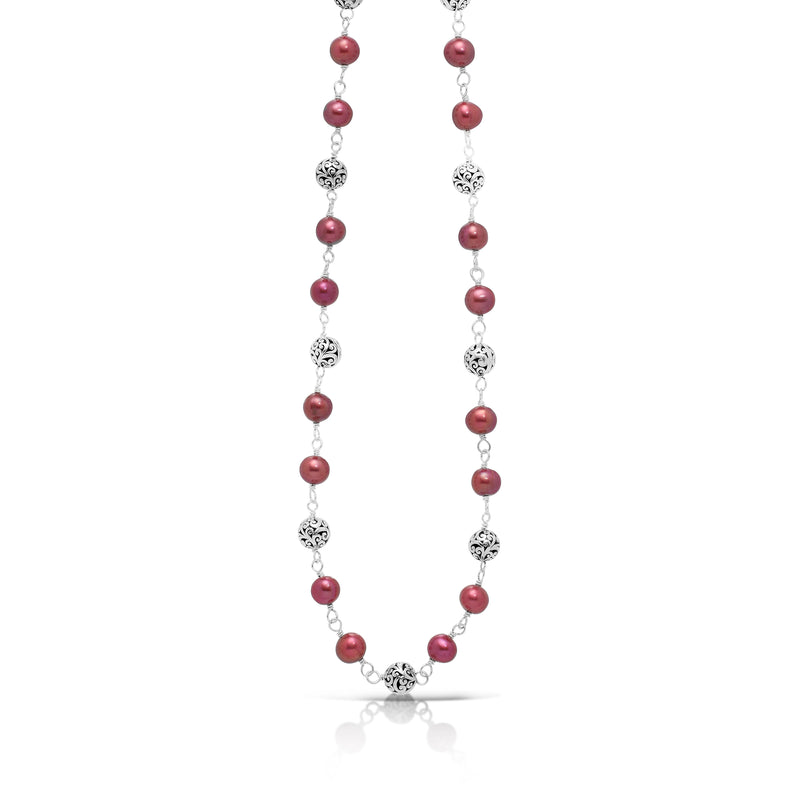 "Pink Pearl Bead (6mm) with Scroll Sterling Silver Bead (6mm) Single Strand Wire-Wrapped Necklace. 18"" Chain"