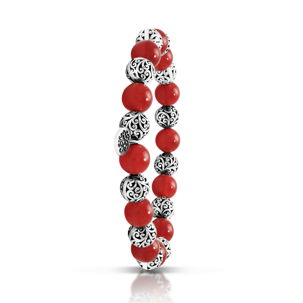 Red Agate Bead (8mm) with Scroll Sterling Silver Bead Stretch Bracelet