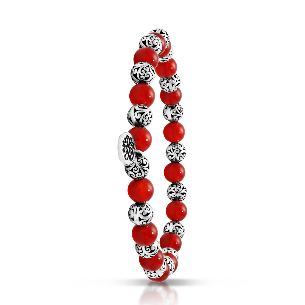 Red Agate Bead (6mm) with Scroll Sterling Silver Bead Stretch Bracelet