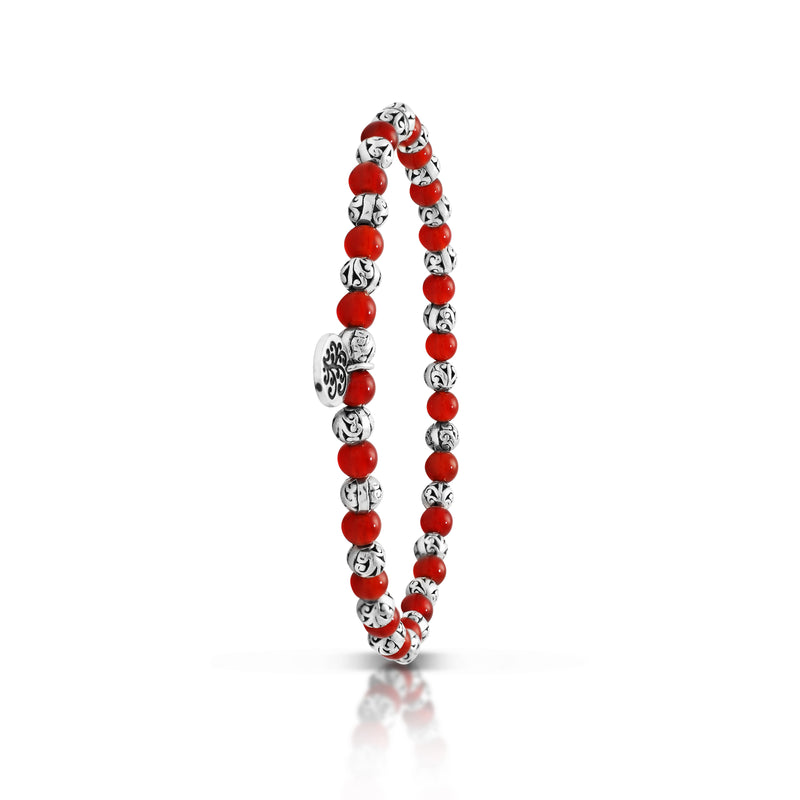 Red Agate Bead (4mm) with Scroll Sterling Silver Bead Stretch Bracelet
