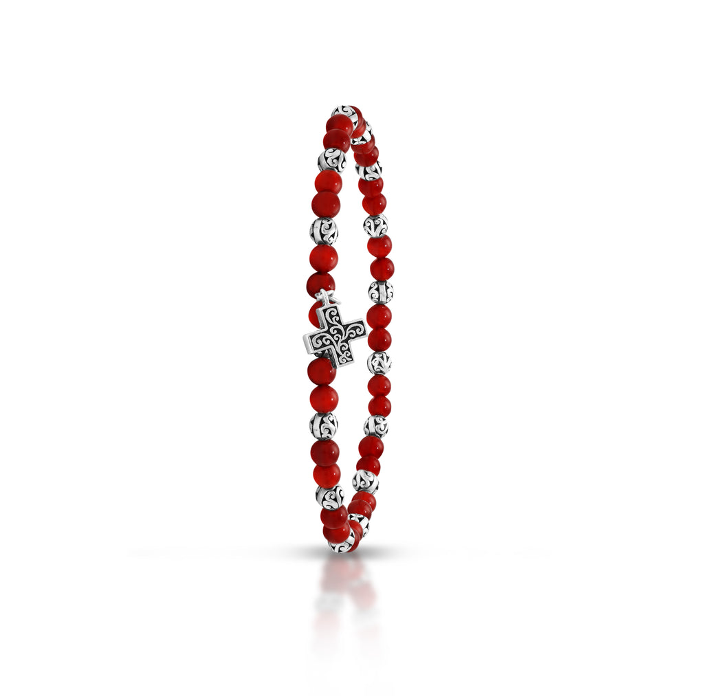 Red Agate Bead (4mm) with Scroll Sterling Silver Bead & Cross Sign Stretch Bracelet