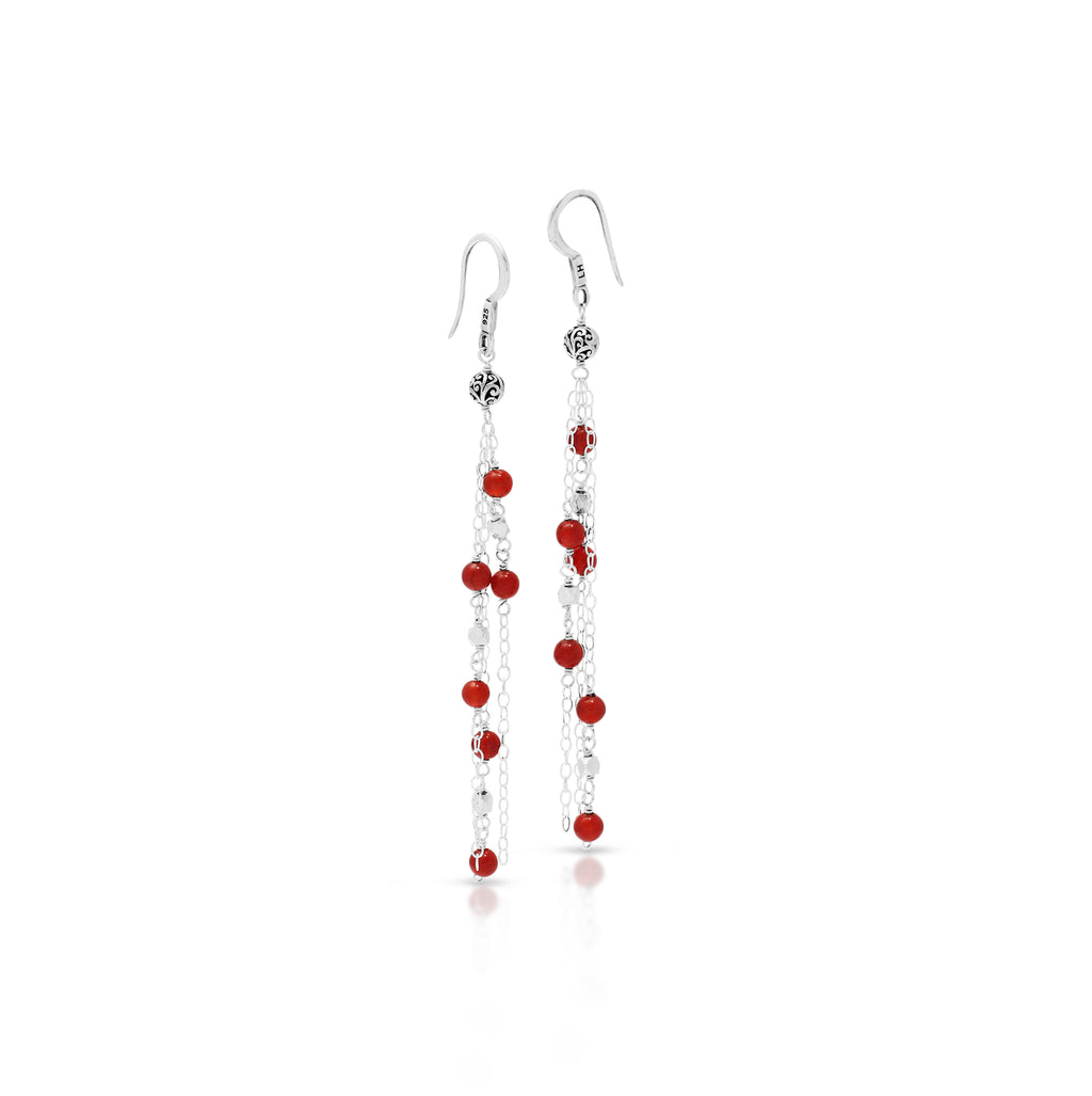 Red Agate Bead (4mm) Sterling Silver Scroll Bead (5mm) Drop Fishook Earrings
