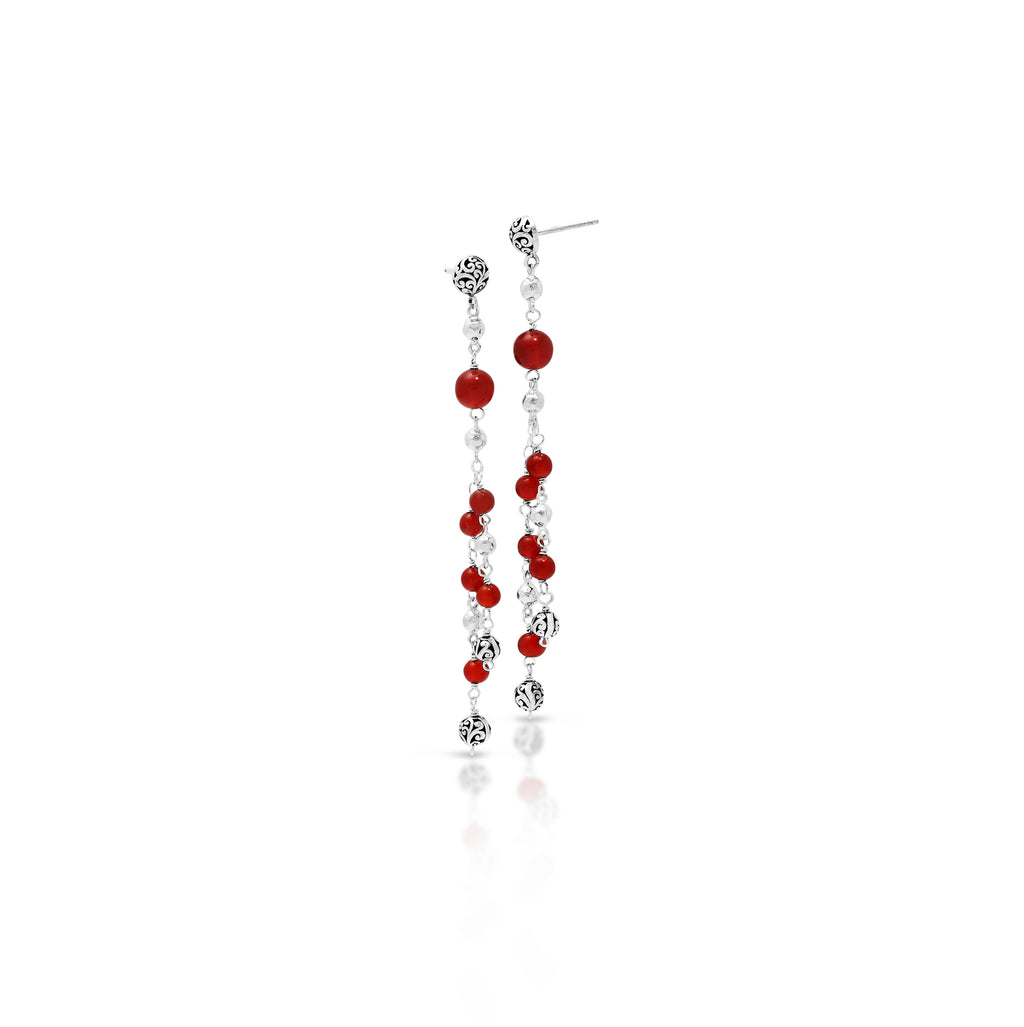Red Agate Bead (6mm & 4mm) Sterling Silver Scroll Bead (6mm) Drop Post Earrings