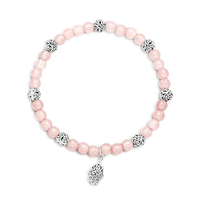 Rose Quartz Bead with Sterlng Silver Bead (5mm) & Hamsa Charm Stretch Bracelet - Lois Hill Jewelry
