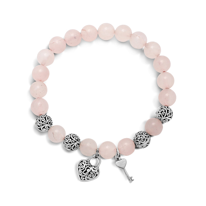 Rose Quartz Bead ( 8mm )  with Sterling Silver Heart Lock Stretch Bracelet - Lois Hill Jewelry