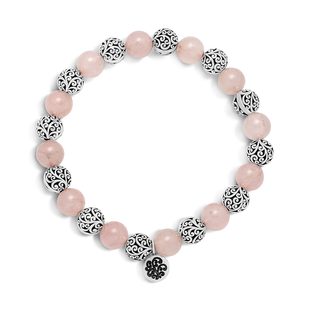 Rose Quartz Bead with Sterling Silver Bead ( 8mm ) Stretch Bracelet - Lois Hill Jewelry