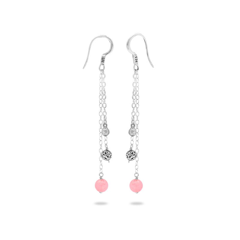 Rose Quartz Bead with Hammered & Scroll Sterling Silver Bead Drop Fishook Earrings - Lois Hill Jewelry