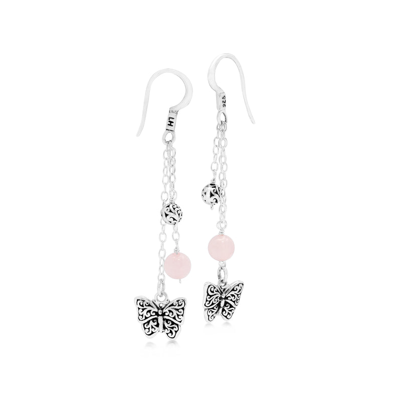 Rose Quartz Bead with Butterfly Scroll Sterling Silver Drop Fishook Earrings - Lois Hill Jewelry