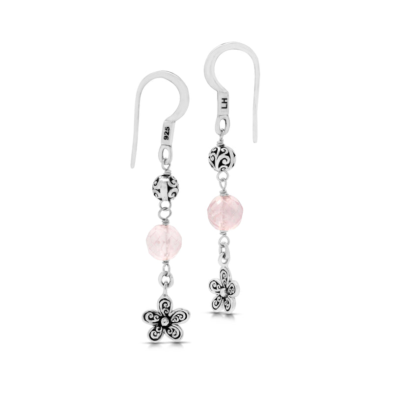 Rose Quartz Bead with Sterling Silver Bead and Signature Scroll Flower Drop Fishook Earrings - Lois Hill Jewelry