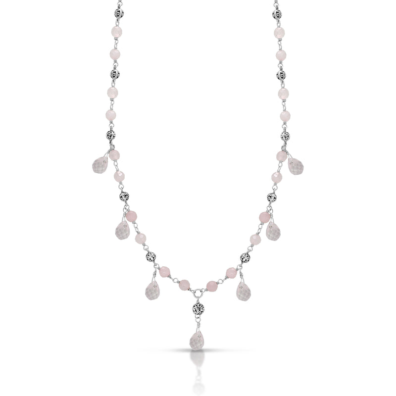 Rose Quartz Bead and Signature Scroll Silver Bead Station Necklace - Lois Hill Jewelry