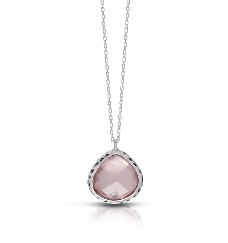 "Bulb-Shaped Rose Quartz with Classic Signature Scroll Rim Pendant on 18"" Chain Necklace. Pendant 17mm"
