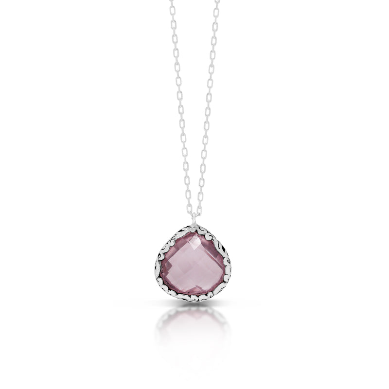 "Small Teardrop Rose Quartz with Classic Signature Open Scroll Rim Pendant on 18"" Chain Necklace"