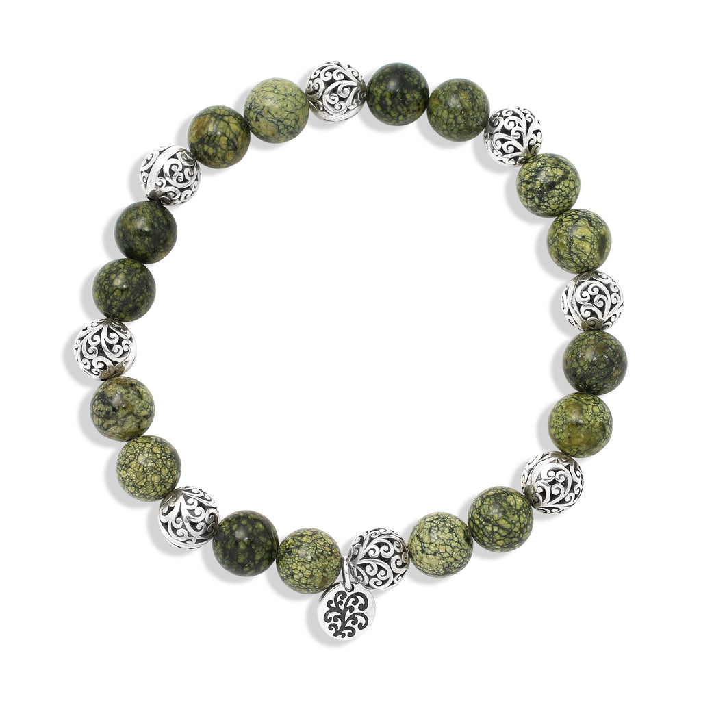 Green Turquoise Bead (8mm) with Scroll Sterling Silver Bead Stretch Bracelet