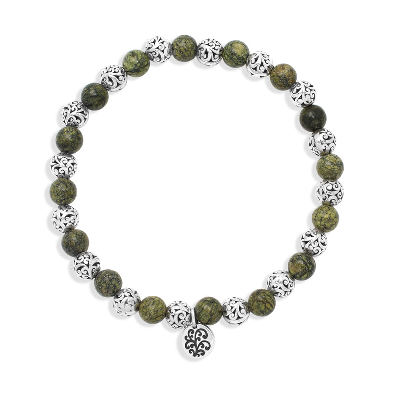 Green Turquoise Bead (6mm) with Scroll Sterling Silver Bead Stretch Bracelet