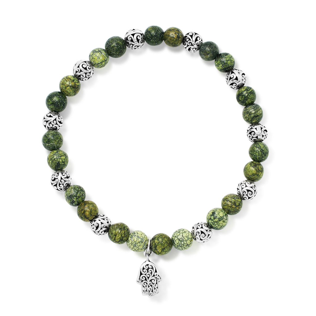 Green Turquoise Bead (6mm) with Scroll Sterling Silver Bead and Hamsa Charm Stretch Bracelet