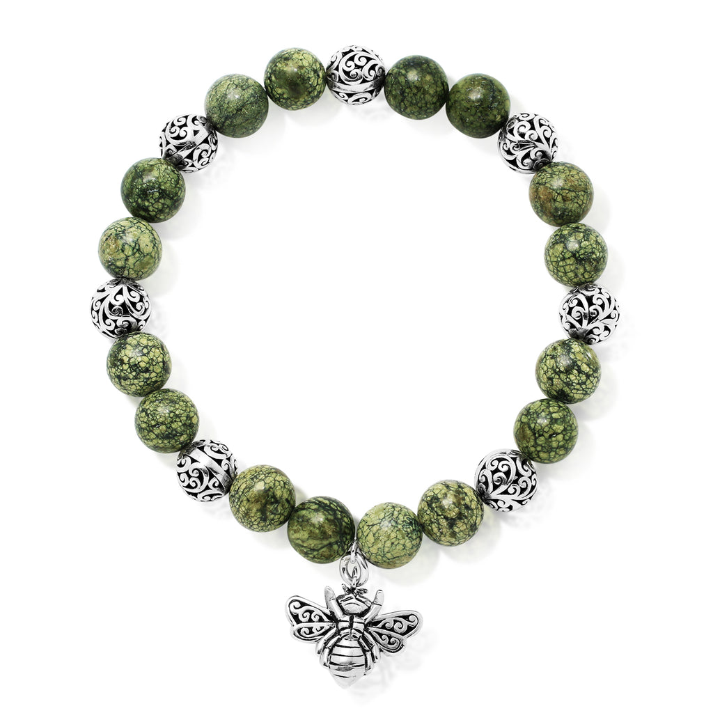 Green Turquoise Bead (8mm) with Scroll Sterling Silver Bead and Bee Charm Stretch Bracelet