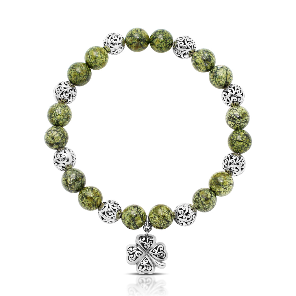Green Turquoise Bead (8mm) with Scroll Sterling Silver Bead and Flower Cross Hang Stretch Bracelet