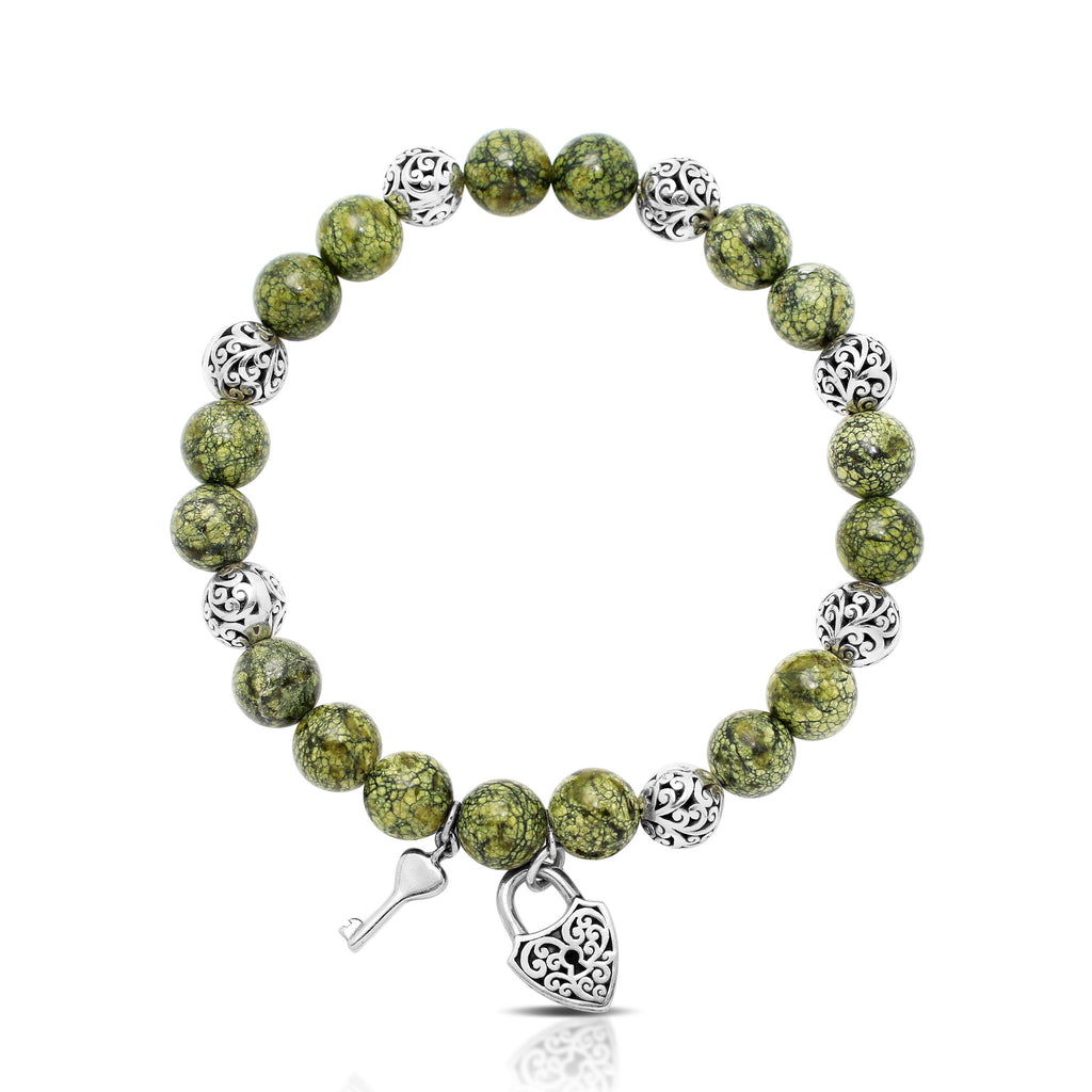 Green Turquoise Bead (8mm) with Scroll Sterling Silver Bead and Heart Lock Key Hang Stretch Bracelet
